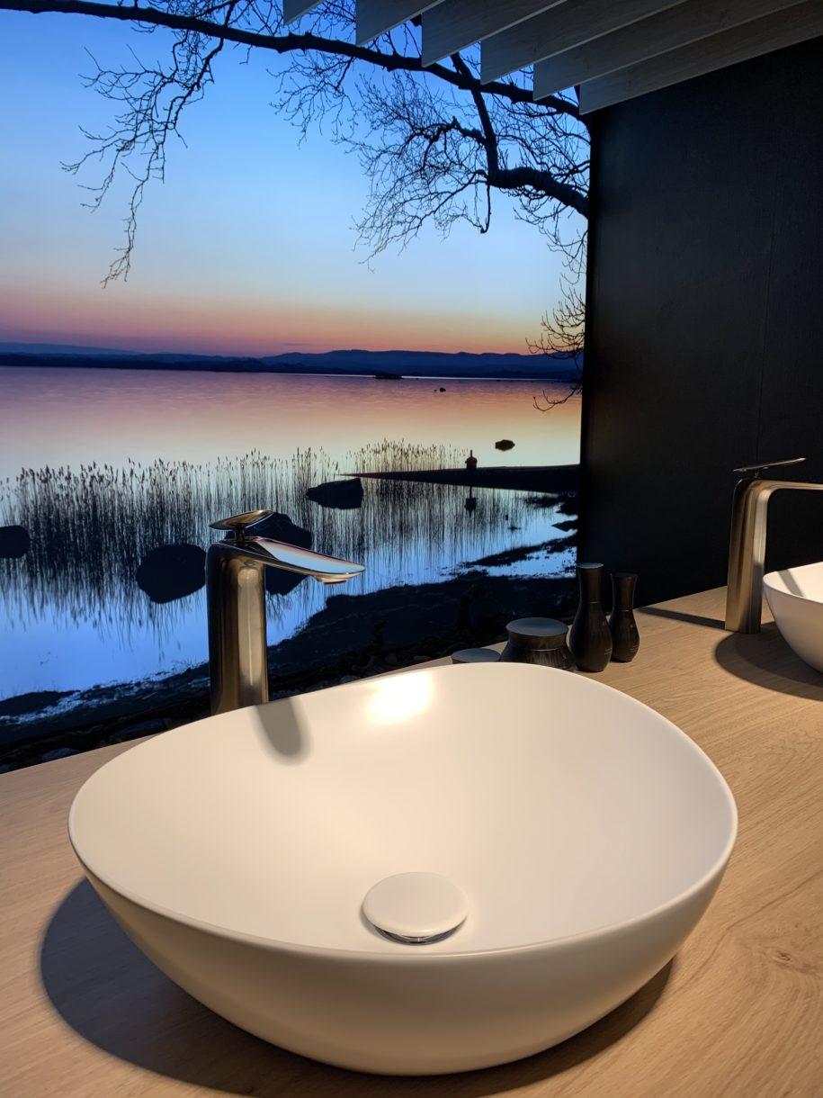 geformtes Waschbecken an der ISH